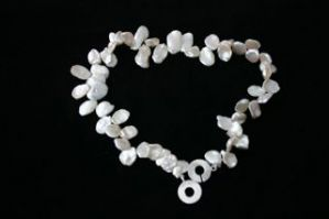 "16"" White Keishi Freshwater Pearl Necklace and 925 Sterling Silver Clasp"